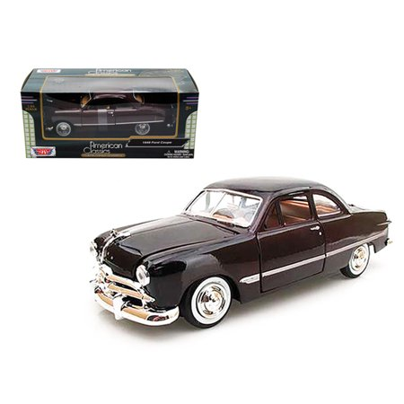1949 Plymouth Coupe - 1949 Ford Coupe Burgundy 1/24 Diecast Model Car by Motormax