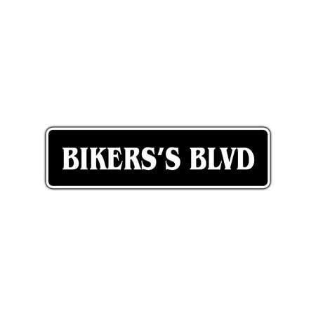 Biker's Blvd Aluminum Metal Street Sign Harley Motorcycle Man Cave Bar Decor 4x13.5
