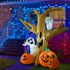 HomCom 7.5' Tall Outdoor Lighted Inflatable Halloween Decoration - Haunted Tree With Owl / Ghost / Pumpkins