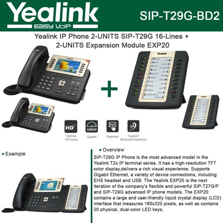 Yealink Sip T29g Ip Phone Poe 2 Units   Exp20 2 Units Lcd Expansion Module