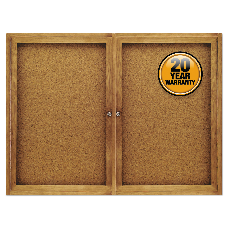Quartet Enclosed Bulletin Board, Natural Cork/Fiberboard, 48 x 36, Oak Frame -QRT364