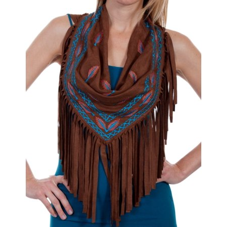 Scully Scarf Womens Fringe Feather Embroidery One Size Brown HC271 (Feather Scarves)