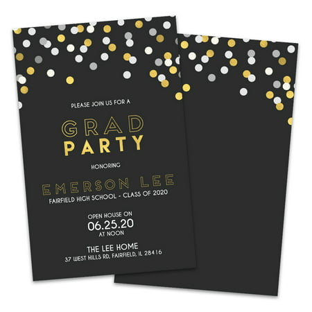 Personalized Gold Confetti Graduation Party Invitation](Black And Gold Invitations)