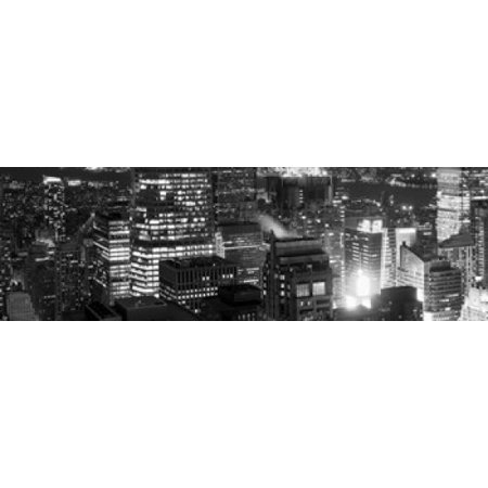 Aerial view of a city at night Midtown Manhattan Manhattan New York City New York State USA Canvas Art - Panoramic Images (18 x 6) (Halloween Usa Midtown)