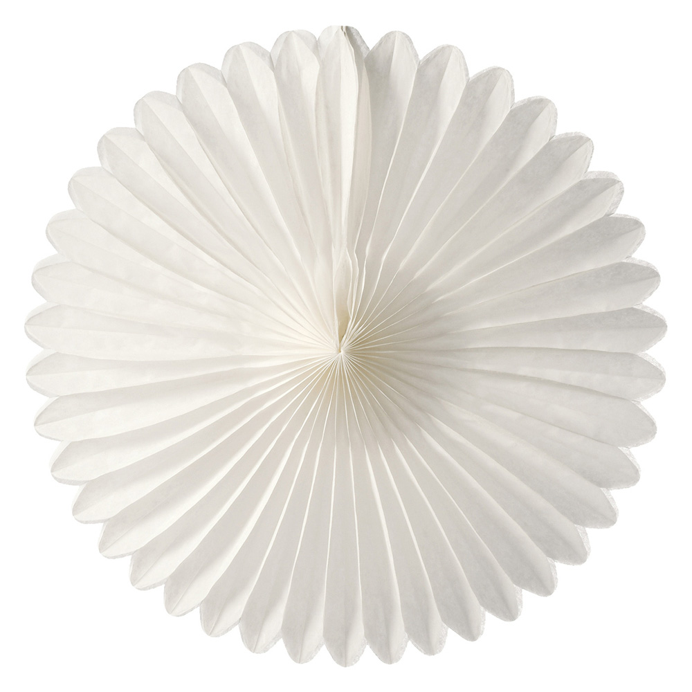 Luna Bazaar Hanging Paper Fan (14-Inch, White) - Rice Paper Honeycomb Decorations - For Home Decor, Parties, and Weddings
