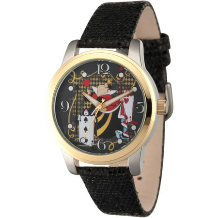 Disney, Alice in Wonderland, Queen of Hearts Women's Two-Tone Alloy Watch, Black Sequin Strap