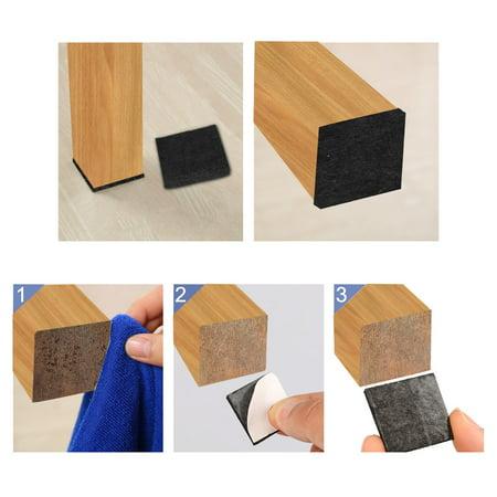"Furniture Felt Pad Square 1"" Anti-scratch for Furniture Cabinet Black 100pcs - image 4 de 7"