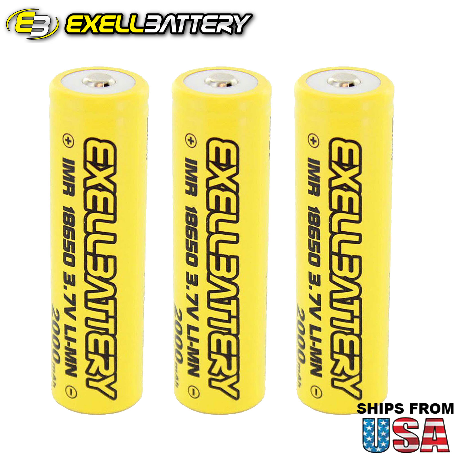 3pc IMR 18650 3.7V LiMN 2000mAh Rechargeable Button Top Battery Mod Vape