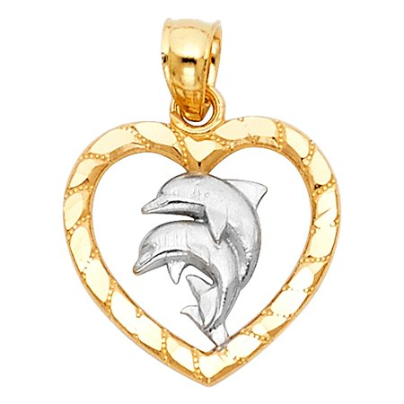 Open Heart Couple Dolphin 14k Real Pure Solid Gold Two Tone Pendant Fancy Charm Fine Jewelry Great Gift Idea Fine Jewelry