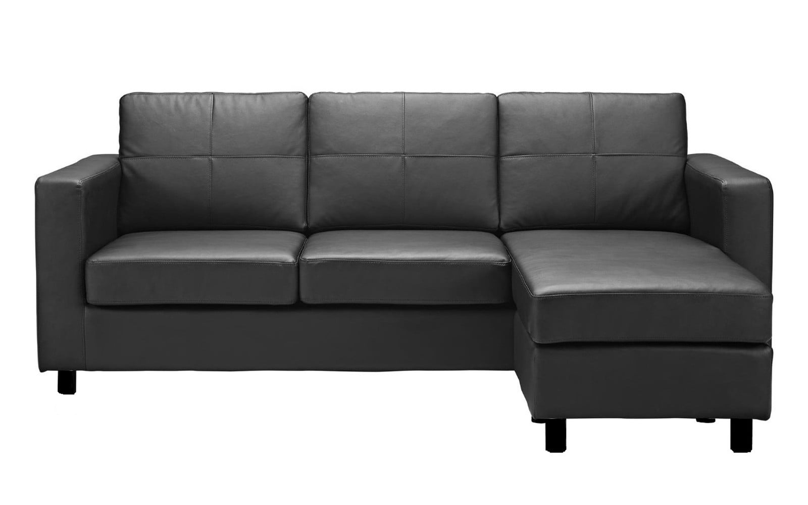 Great Modern Reversible Small Space Configurable Bonded Leather Sectional Sofa    Walmart.com