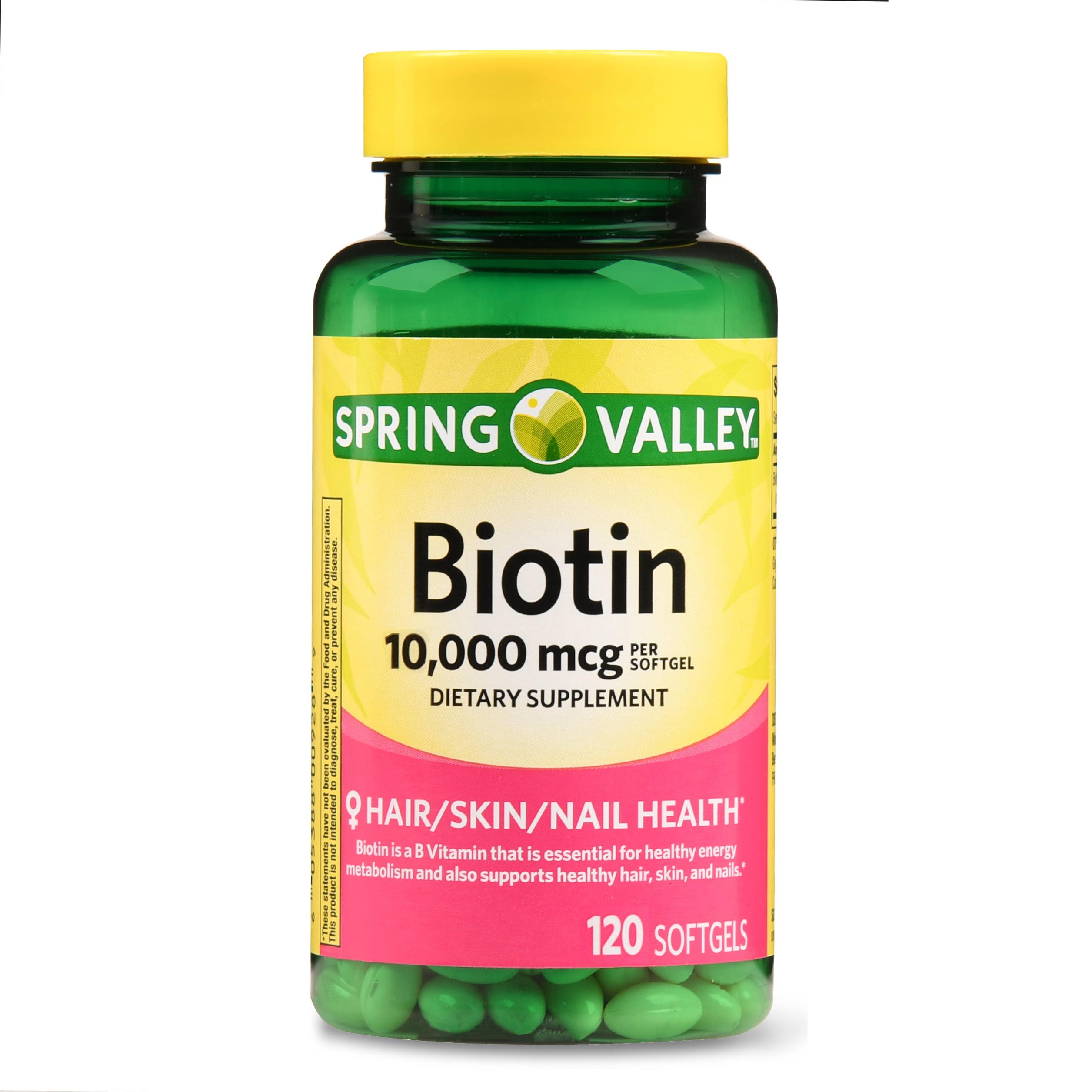 Spring Valley Biotin Softgels, 10000 mcg, 120 Ct