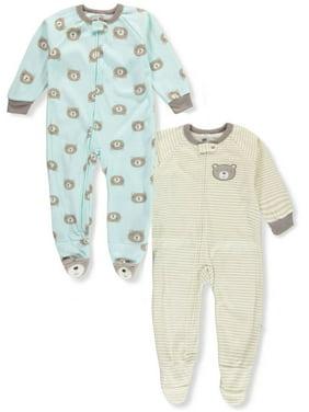 Just Born Boys' 2-Pack 1-Piece Footed Pajamas