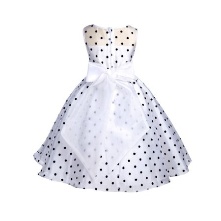 Ekidsbridal Formal Satin Organza Polka Dot Flower Girl Dress Bridesmaid Wedding Pageant Toddler Recital Easter Holiday Spring Summer Communion Baptism Birthday Receptions Special Occasions 1509
