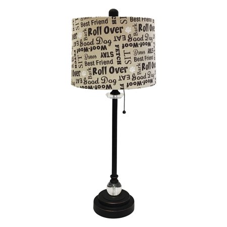"Royal Designs 28"" Crystal and Oil Rub Bronze Lamp with Cream and Brown Dog Lover Print Drum Hardback Lamp Shade"