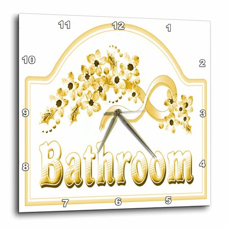3Drose Victorian Yellow Gold Bathroom Sign  Wall Clock  15 By 15 Inch