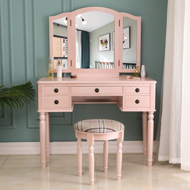 Zimtown Vanity Makeup Dressing Table Set W Stool 5 Drawer Tri Folding Mirror Jewelry Wood Desk Furniture Fluorescent Pink Walmart Com Walmart Com