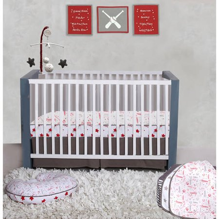 (Bacati Baseball Red/Grey 100 Percent Cotton Breathable Muslin 3pc Boys Crib Set with 4 Layer Lux Breathable Muslin Blanket Crib Fitted Sheet and Crib Skirt For US Standard Cribs)