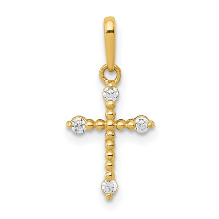 14k Yellow Gold Beaded Cubic Zirconia Cz Cross Religious Pendant Charm -