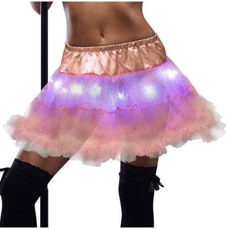 LED Tutu for Women Glowing Pastel Light Up Adult Skirt Rave Cosplay Party Stage Costume Show Club Dress by JenniWears, Pink (Dress Up Theme Ideas For Adults)