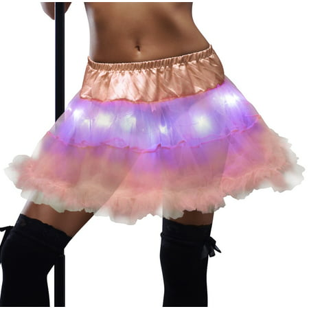 LED Tutu for Women Glowing Pastel Light Up Adult Skirt Rave Cosplay Party Stage Costume Show Club Dress by JenniWears, Pink