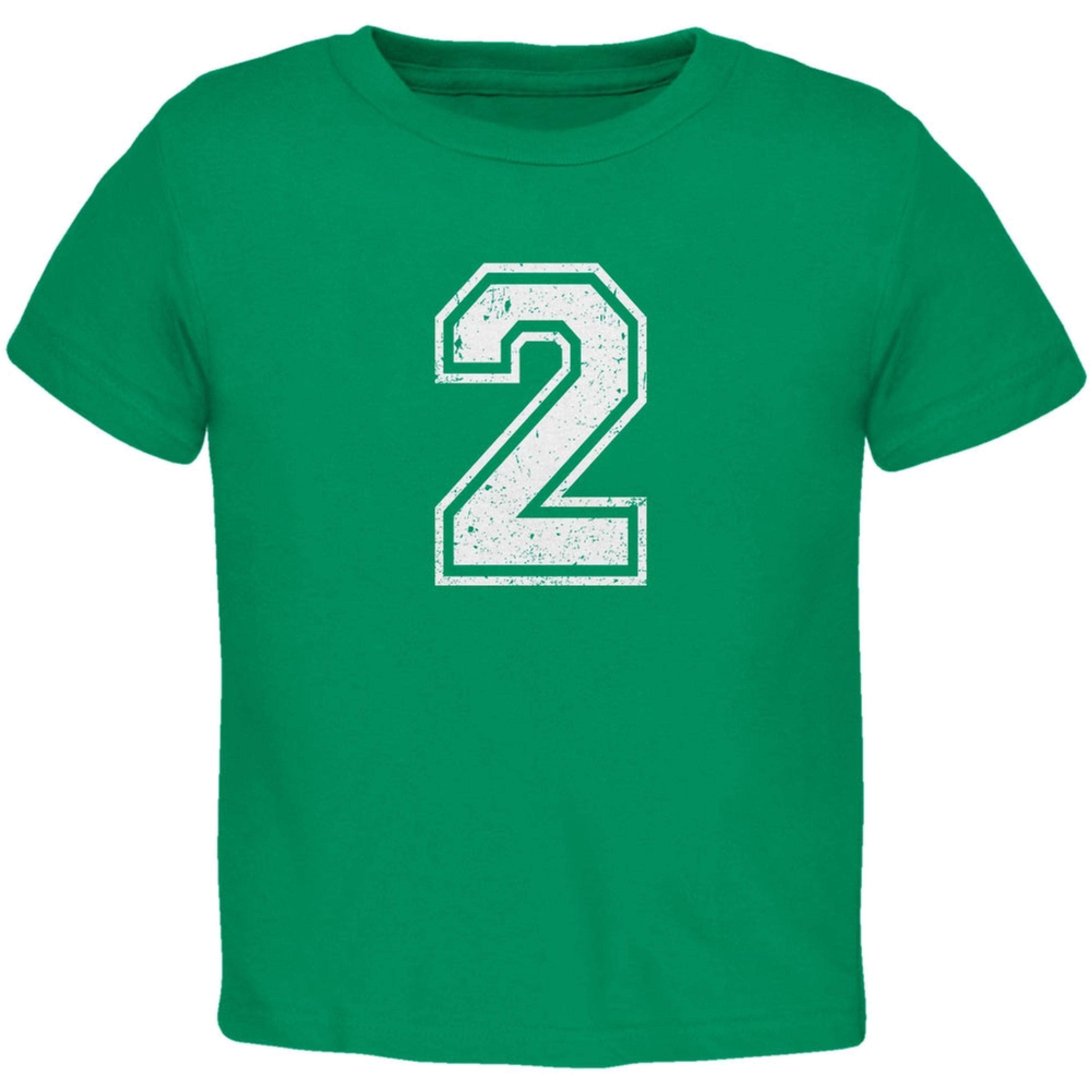 Birthday Kid Jersey 2 2nd Second Kelly Green Toddler T-Shirt