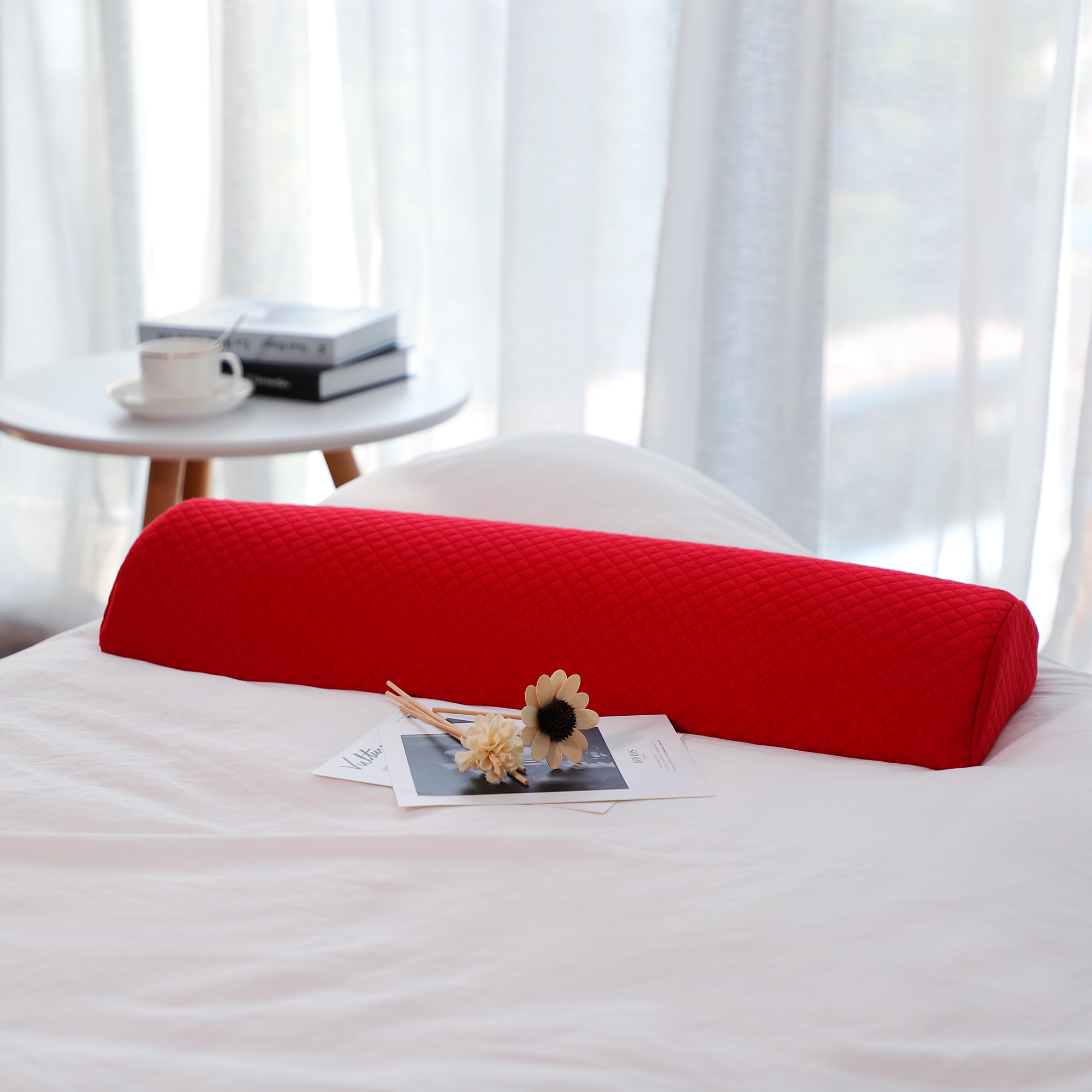 Half Moon Cervical Pillow Roll Memory Foam Bolster Support(Large, Red)