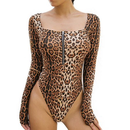 Women Leopard Bodysuits Leotard Long Sleeve Romper Jumpsuit T Shirt Tops Blouses](Childrens Leopard Print Onesie)