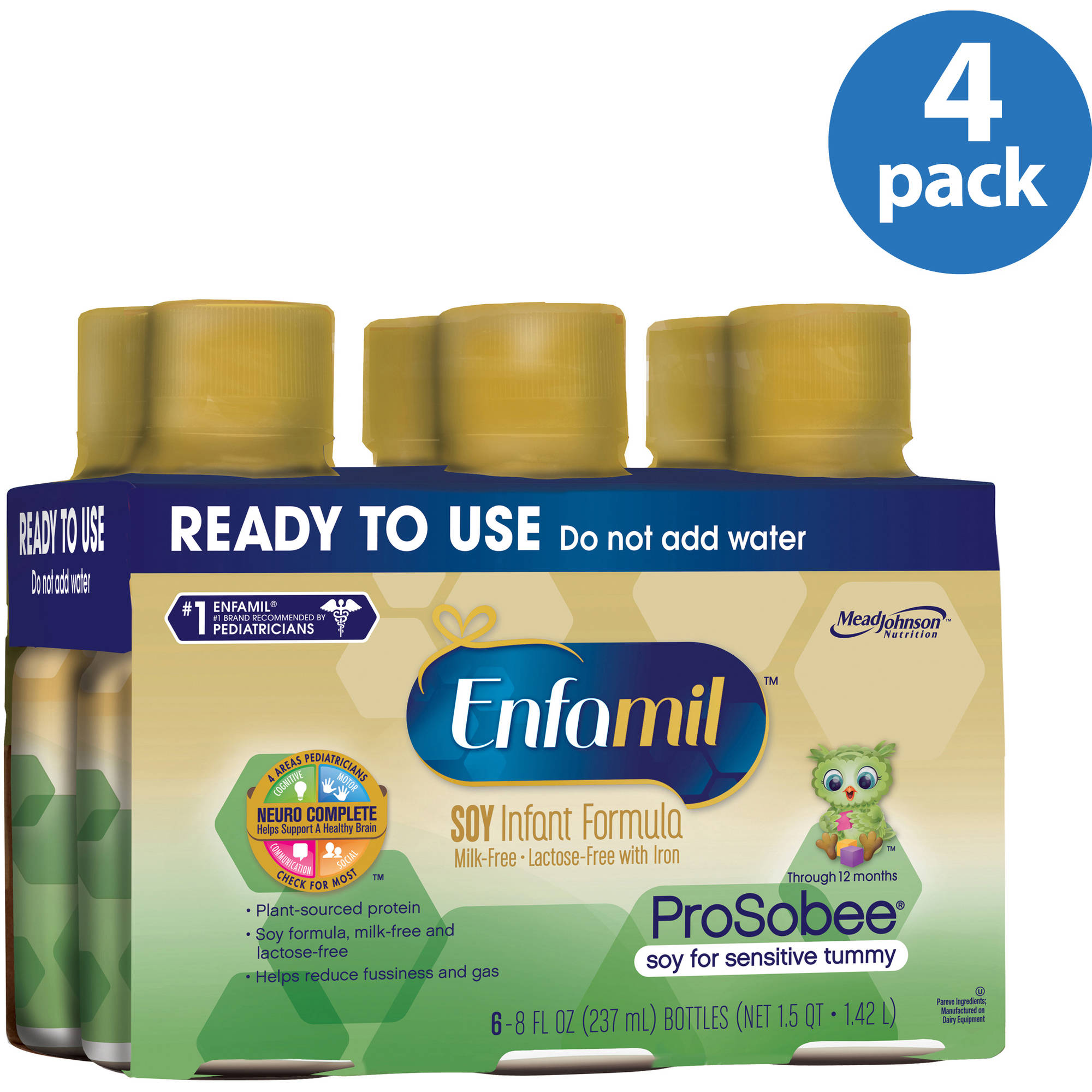Enfamil Prosobee soy baby formula - Ready-to-Use 8 fl oz Plastic Bottles - 6 pk (Pack of 4)