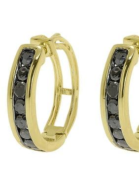 Yellow Gold Finish Black Channel Diamonds 15mm Round Hoop Huggie Earrings 0.50ct