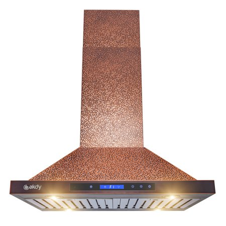 "AKDY 30"" Island Mount Range Hood Embossed Copper 4 Speed Touch Control for Kitchen Kitchenaid Island Hood"