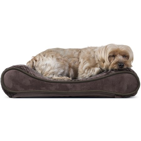 FurHaven Pet Dog Bed | Orthopedic Minky Plush & Velvet Luxe Lounger Pet Bed for Dogs & Cats, Espresso, Small