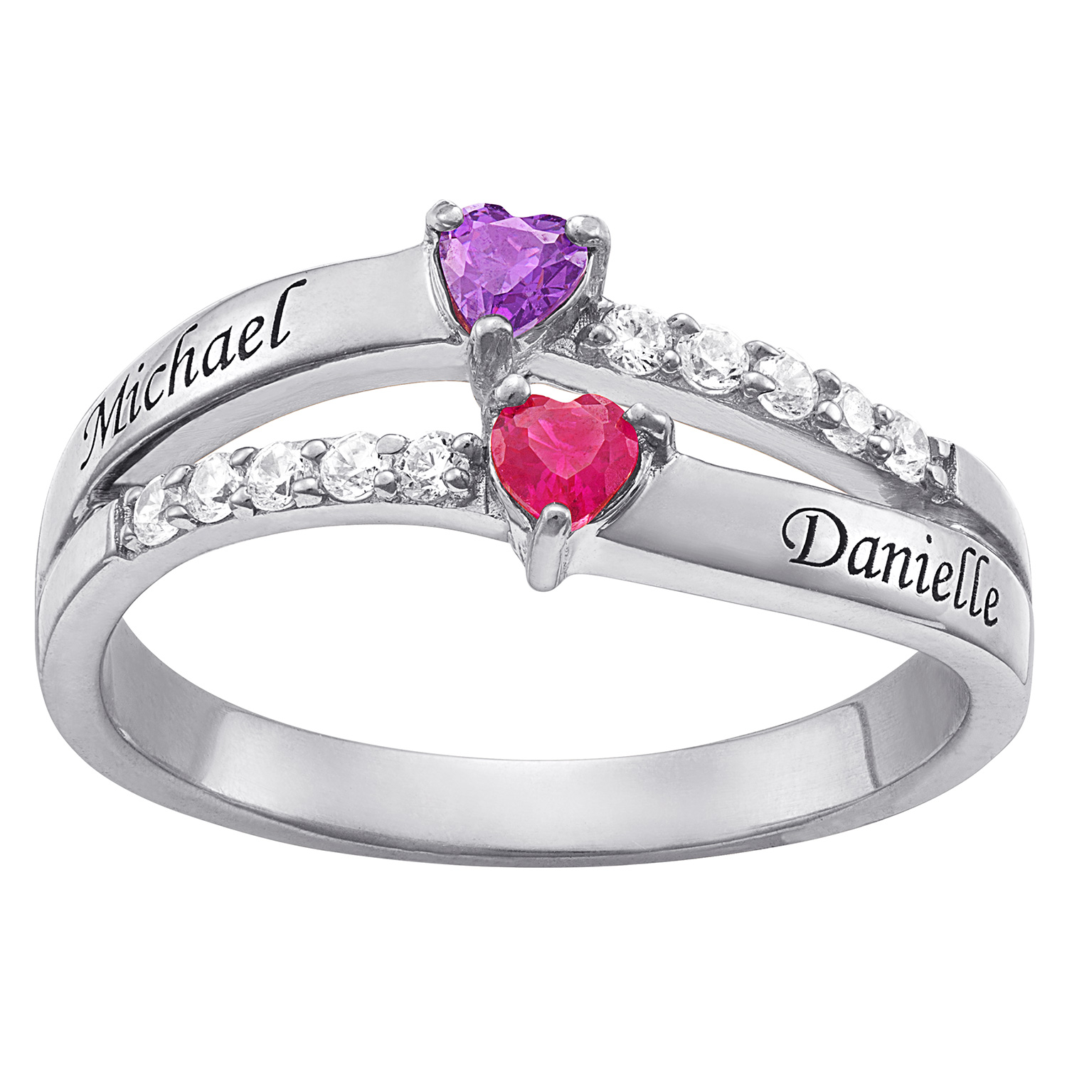 Personalized Couple's Sterling Silver or Gold over Silver Engraved Heart Birthstone and CZ Ring