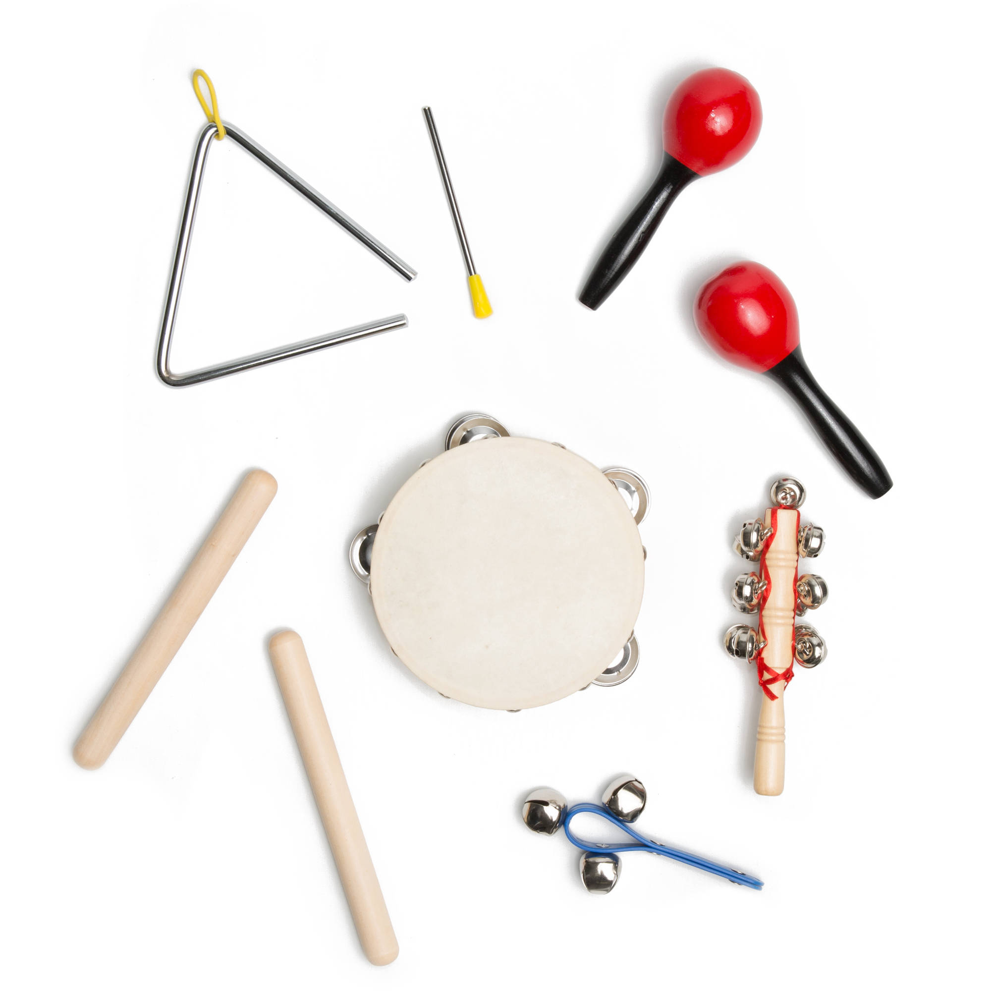 """Kayata Kids Percussion Set includes Handbell, 5"""" Triangle, Bell and Pair of Maracas"""