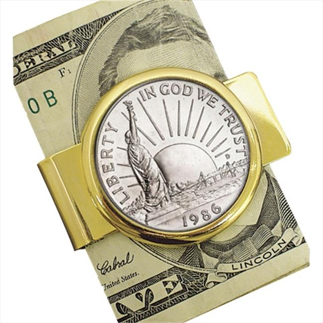 American Coin Treasures 11132 1986 Statue of Liberty Commemorative Half Dollar Coin in Goldtone Money Clip Coin Jewelry