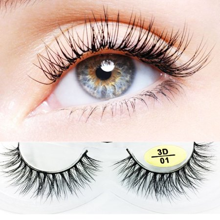 8ea1edefc24 1 Pair New Natural Mink Fur 3D False Eyelashes 3D Fake Eye Lashes Long 100%  Siberian Mink Lashes 3D Mink Eyelashes Natural Thick Lash (01) - Walmart.com