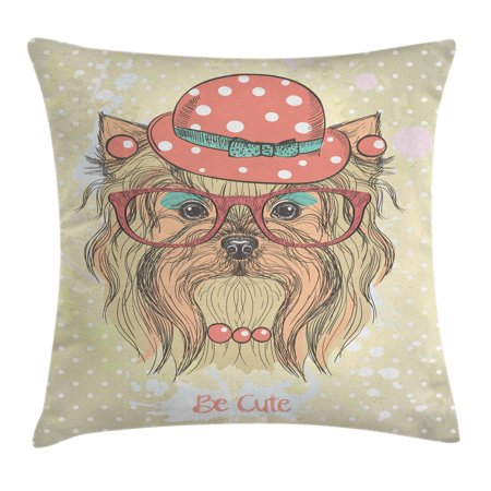 Yorkie Throw Pillow Cushion Cover, Be Cute Portrait of an Adorable Dog with Earrings Necklace Glasses Hat Makeup, Decorative Square Accent Pillow Case, 24 X 24 Inches, Pale Brown Coral, by Ambesonne
