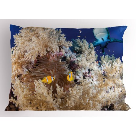 Shark Pillow Sham Reef with Little Clown Fish and Sharks East Egyptian Red Sea Life Scenery Food Chain, Decorative Standard Queen Size Printed Pillowcase, 30 X 20 Inches, Blue Cream, by Ambesonne