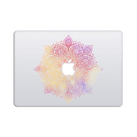 Laptop Stickers Macbook Decal - Removable Vinyl w/ GLOWING APPLE LOGO DIECUT - Mandala Decal Milky Way Colorful Skin for MacBook Air Pro 13 15 inch Mac Retina - Best Decorative Sticker