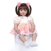 """Zimtown 24""""Cute Reborn Lifelike Baby Doll Silicone Toy Short Hair Pink Dress Up Girl Christmas Birthday Gift"""