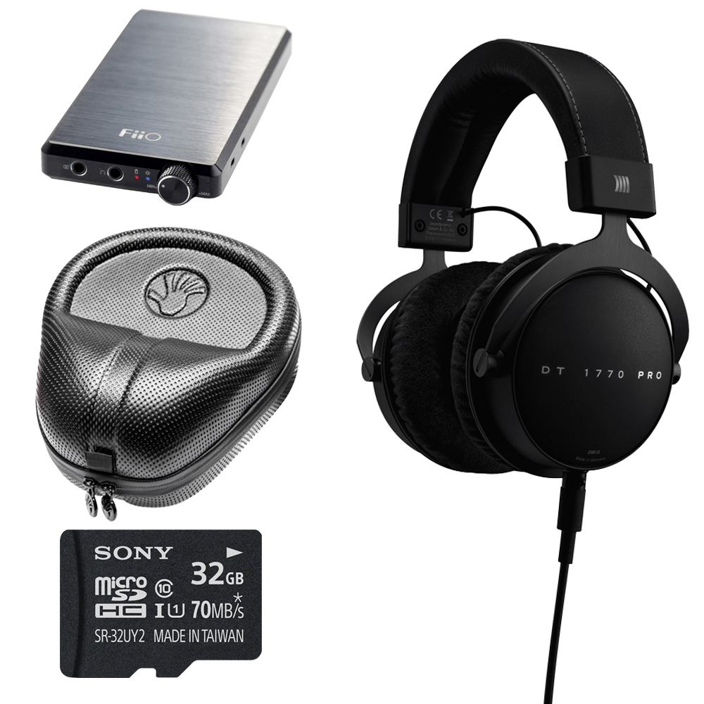 BeyerDynamic DT 1770 PRO Headphones ��� 710717 with FiiO E12 Portable USB Rechargeable Headphone High Fidelity Amplifier, Sony 32GB micro SDHC Memory Card & Slappa HardBody Full Sized Headphone Case