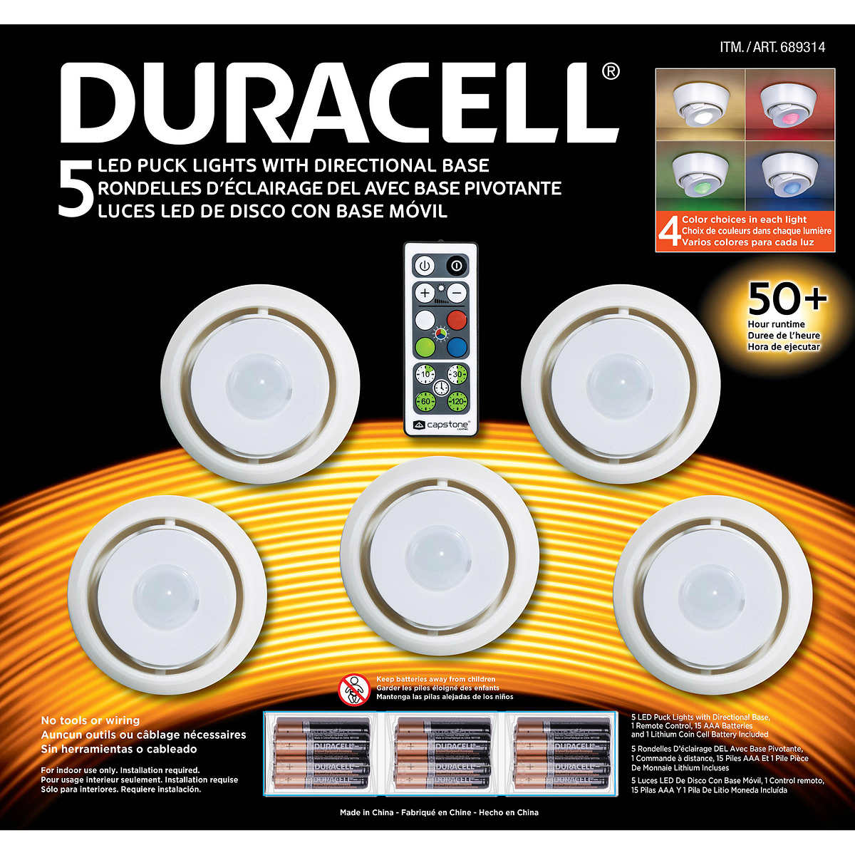 Bon Duracell Puck Lights, 5 Pack
