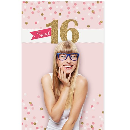 Sweet 16 - 16th Birthday Party Photo Booth Backdrop - 36