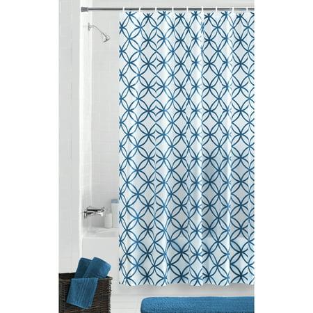 Mainstays Hadley Blue Waterproof PEVA Shower Curtain