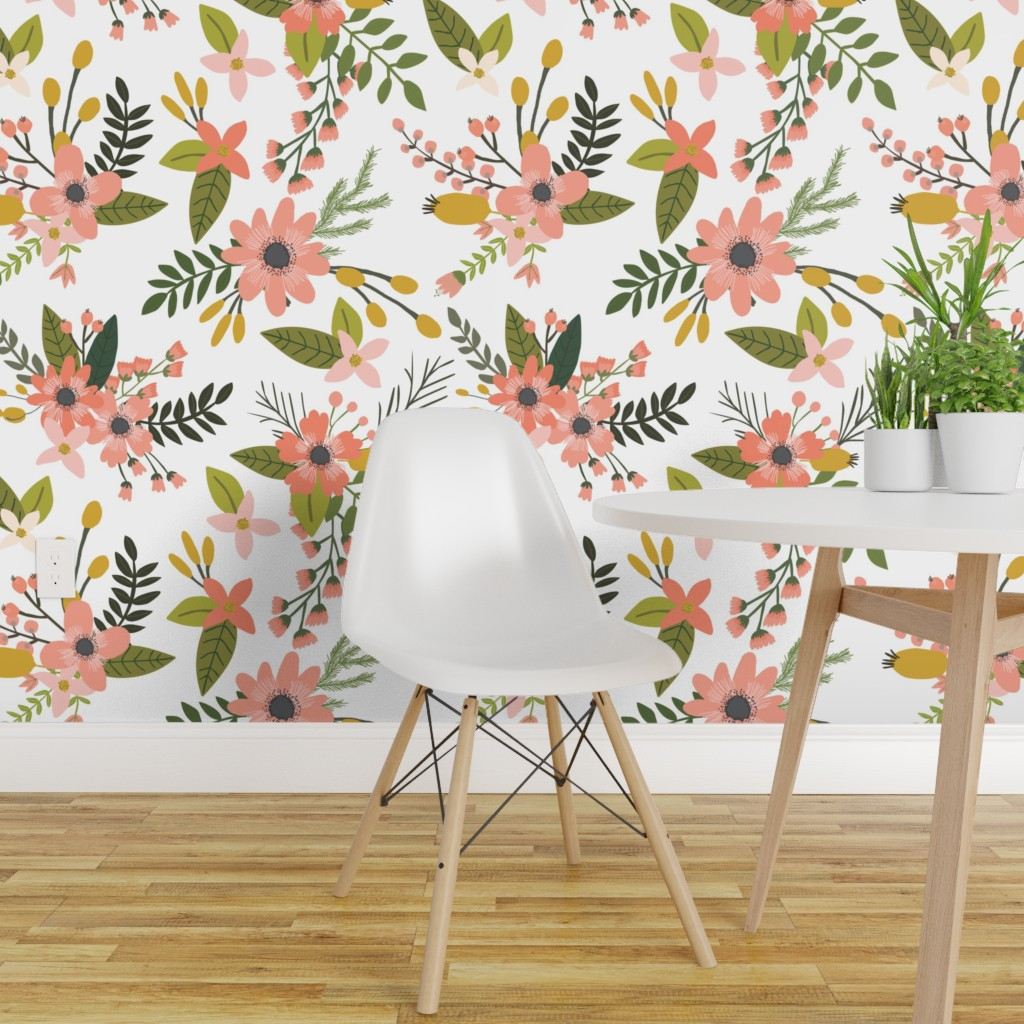 Removable Water Activated Wallpaper Coral Flowers Floral Botanical