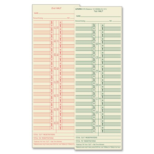 """Tops Semi-monthly Time Card - 10.50"""" X 3.50"""" Sheet Size - Manila - 500 / Box (TOP1276)"""