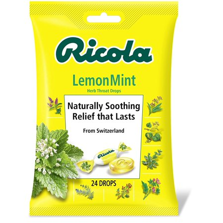 4 Pack Ricola Lemon Mint Herb Throat Drops Naturally Soothing 24 Drops Each