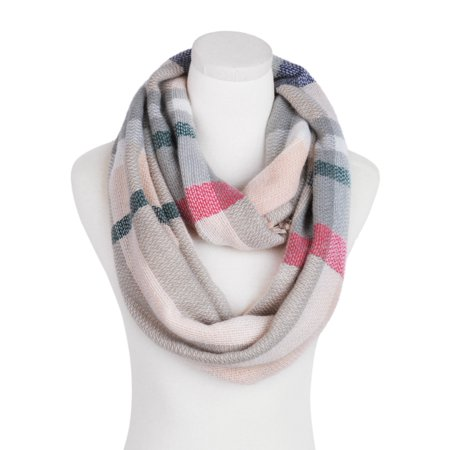 3e647570820af TrendsBlue - Premium Winter Soft Knit Plaid Checked Blanket Infinity Loop  Circle Scarf, Pink - Walmart.com