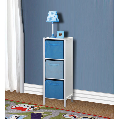 Badger Basket - Three-Cubby Tall Storage Unit, White/Blue