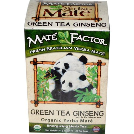 Ginseng Tea 20 Bags - Mate Factor Yerba Mate Organic Tea Box Green Tea Ginseng 20 Bag, Pack of 2