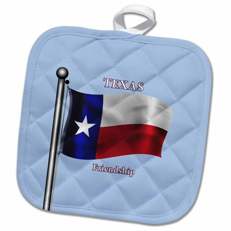 Texas Holdem Nuts - 3dRose Waving Flag of Texas and state motto on a light blue background - Pot Holder, 8 by 8-inch